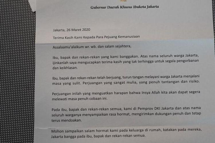 Surat Terimakasih Anies Pada Garda Terdepan Penanganan Covid-19