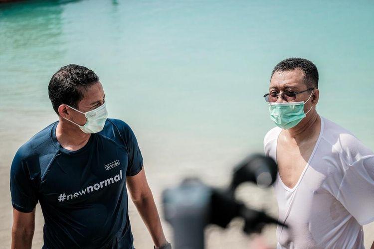 saat Menparekraf Sandiaga Salahuddin Uno bersama Gubernur NTB berenang di Gili Trawangan
