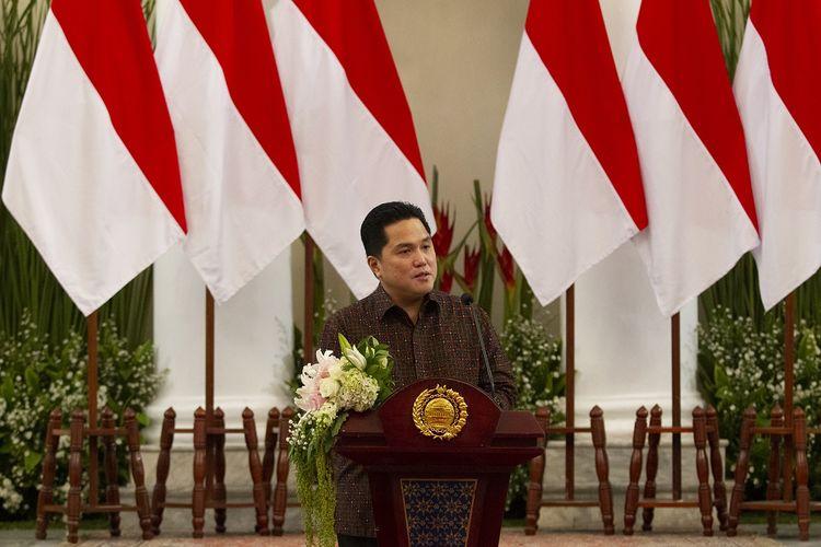 Menteri Badan Usaha Milik Negara (BUMN) Erick Thohir di Kementerian Luar Negeri, Jakarta, Jumat (17/7/2020).