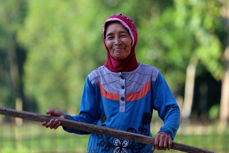Kati menjemur jagung pipil hasil panen di desa Tegal Yoso, Purbolinggo, Lampung Timur, Jumat (28/7/2017). Kati beserta suaminya, Atmo Parigi, bekerja sebagai petani sekaligus melindungi sawah dan kebunnya dari kawanan gajah liar.