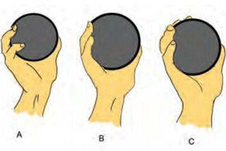 Ilustrasi cara memegang peluru pada olahraga tolak peluru