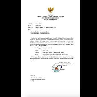 Tangkapan layar mengenai surat palsu terkait pengangkatan tenaga honorer menjadi PNS