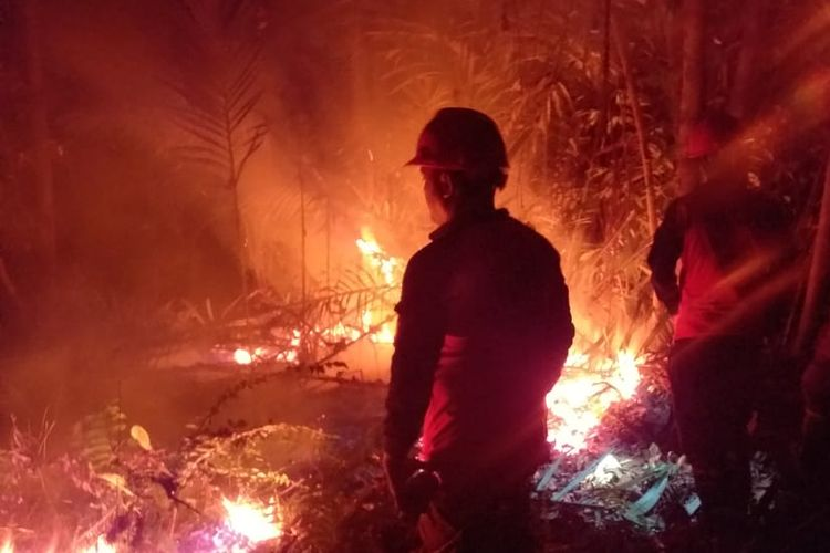Petugas Manggala Agni menjaga penjalaran titik api kebakaran hutan dan lahan di malam hari yang terjadi di Kecamatan Rupat, Kabupaten Bengkalis, Riau (25/2/2019) lalu. Titik kepala api ini harus dijaga, karena mengarah ke permukiman penduduk.  Wilayah Kecamatan Rupat salah satu lokasi karhutla terbesar di Riau, yang membuat hampir seluruh petugas Manggala Agni dikerahkan ke lokasi.