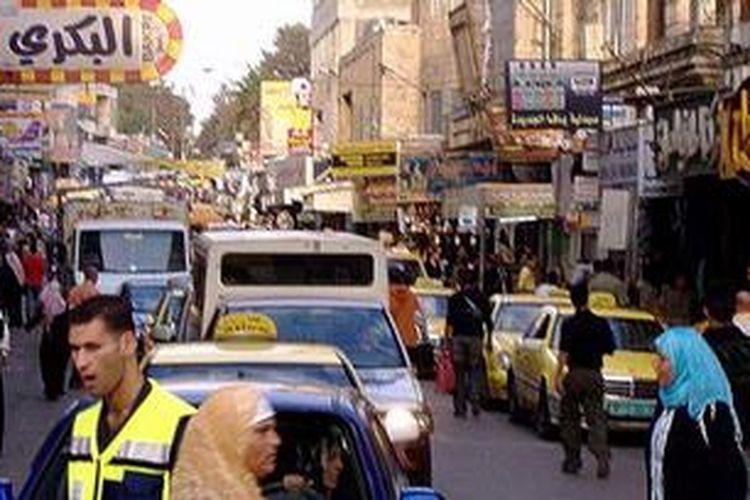 Salah satu sudut di pusat kota Ramallah, Tepi Barat.