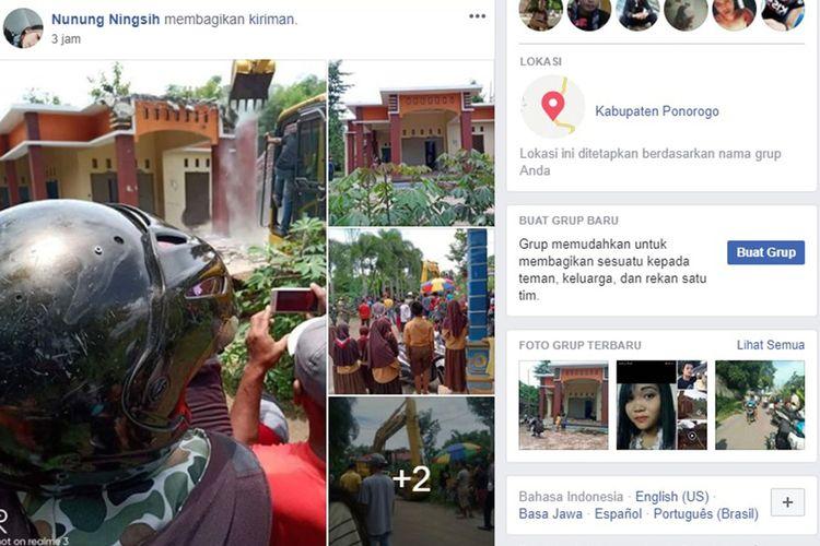 Proses perobohan rumah warga di Ponorogo diduga kasus perselingkuhan yang diunggah di Facebook.