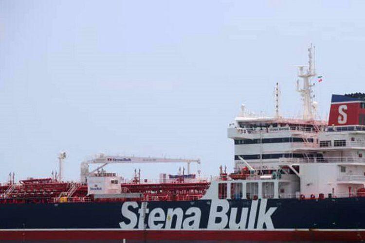 Gambar yang dirilis oleh Tasnim News pada 20 Juli 2019 menunjukkan kapal tanker berbendera Inggris Stena Impero yang ditahan di Bandar Abbas, Iran.