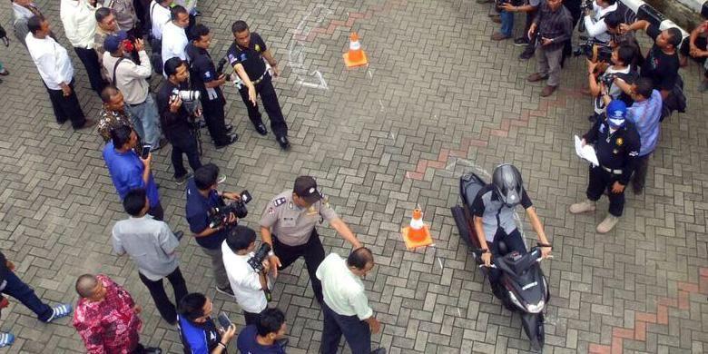 Yamaha Mio Z sedang dipakai untuk ujian SIM C di Kantor Dinas Sosial Jakarta Timur, (31/3/2016).