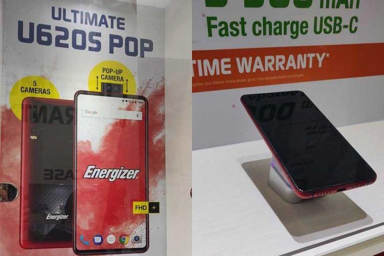 Energizer Ultimate U620S Pop yang memiliki fitur kamera depan pop-up.