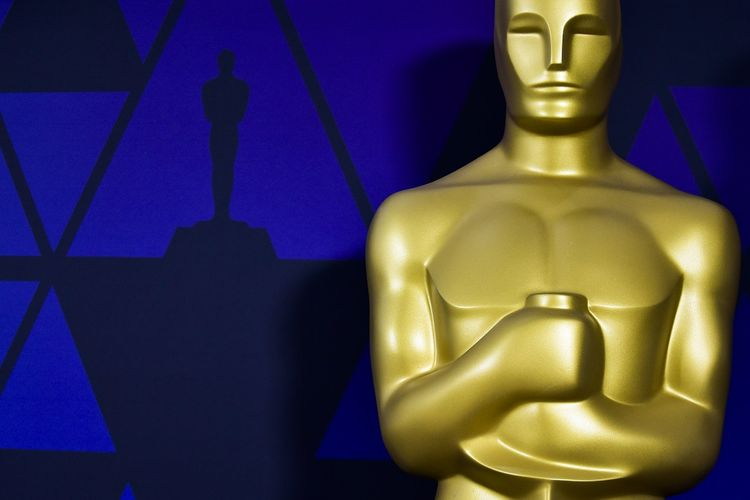 Patung Piala Oscar dipajang Academy of Motion Picture Arts and Sciences, Beverly Hills, California, Sabtu (23/2/2019).