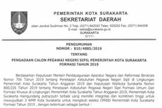 Pemkot Surakarta Alokasikan 407 Formasi di CPNS 2019, Apa Saja?