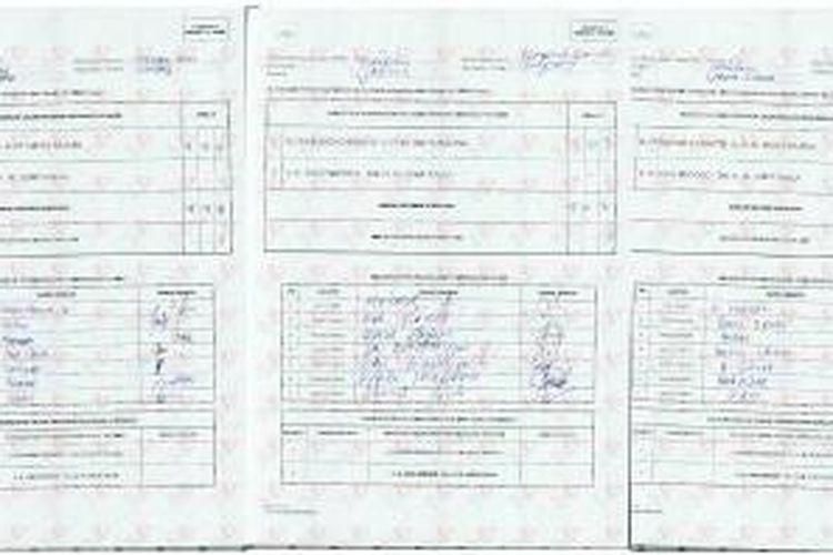 Formulir C1 tiga dari 17 tempat pemungutan suara (TPS) di Desa Ketapang Barat, Kecamatan Ketapang, Kabupaten Sampang, Madura, Jawa Timur. Di 17 TPS ini, Jokowi-JK meraih nol suara. Seluruh pemilih memilih pasangan Prabowo-Hatta.