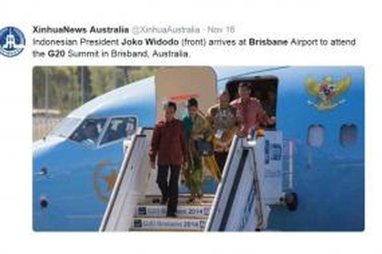 Gambar kedatangan Presiden Joko Widodo dan rombongan di Brisbane, Australia, pada 14 November 2014, seperti diunggah kantor berita Xinhua di akun Twitter-nya pada 16 November 2014. Jokowi ada di Brisbane untuk menghadiri KTT G20 pada 15 dan 16 November 2014.