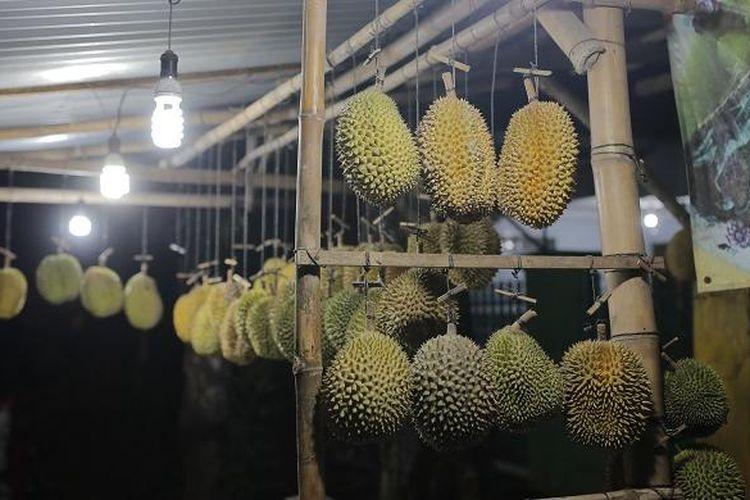 Sejumlah durian Criwik dijual oleh salah satu penjual di Jalan Jatirogo, Lasem, Rembang, Jawa Tengah, Minggu (12/2/2017). Durian Criwik adalah salah satu buah yang dihasilkan di Desa Criwik, Kecamatan Pancur, Kabupaten Rembang, Jawa Tengah.