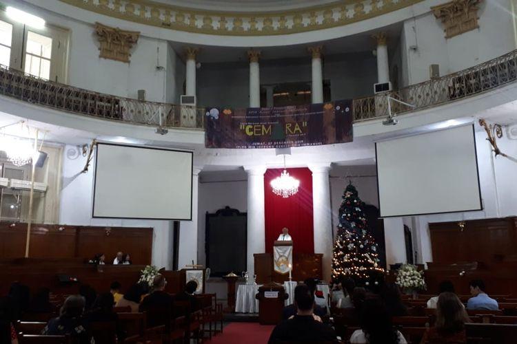 Kebaktian natal di Gereja Protestan Indonesia Bagian Barat(GPIB) Immanuel di Jakarta Pusat, Rabu (25/12/2019).