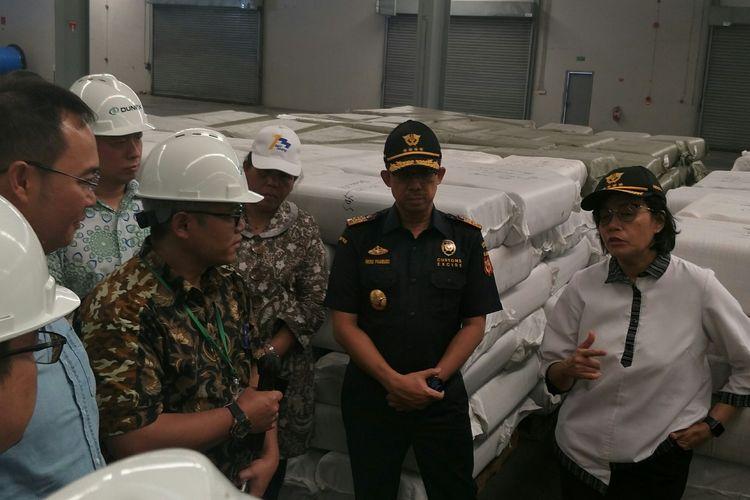 Menteri Keuangan Sri Mulyani saat mendatangi PLB di kawasan Sunter, Jakarta Utara, Jumat (3/10/2019)