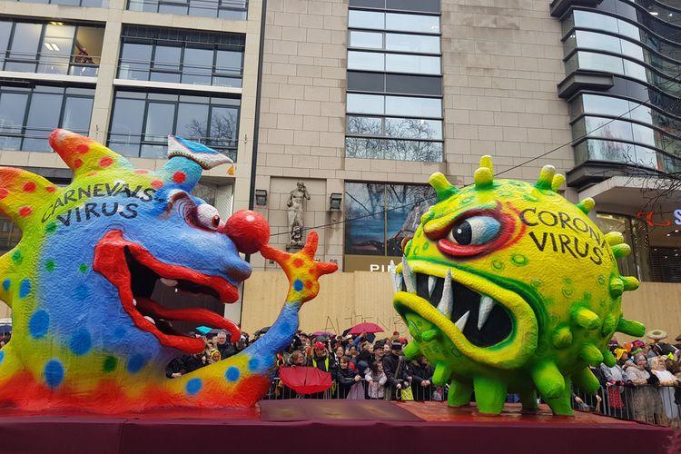 Pertunjukan di Parade Karnaval Dusseldorfer, Jerman, 24 Februari 2020.