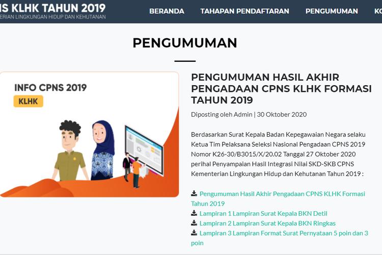Pengumuman CPNS 2019 KLHK
