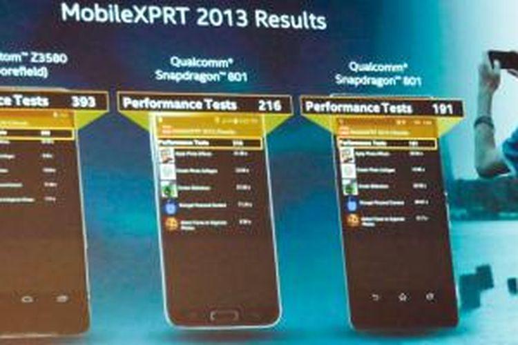 Perbandingan hasil benchmark Atom Z3580 (Moorefield) dan Qualcomm Snapdragon 801 yang ditampilkan Intel di sesi keynote Computex 2014