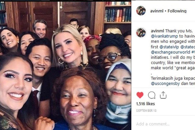 Bupati Trenggalek Mochamad Nur Arifin berfoto bersama putri sekaligus penasihat Presiden Amerika Serikat Donald Trump, Ivanka Trump, di sela dialog Womens Global Development and Prosperity pada pekan lalu.
