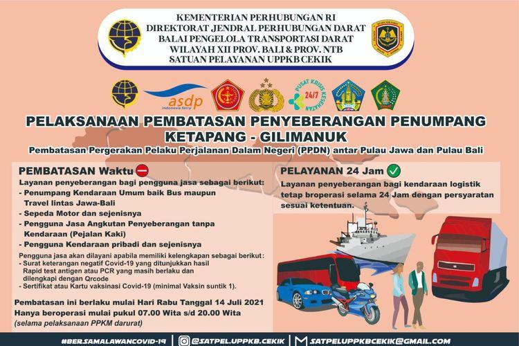 Pelaksanaan pembatasan penyeberangan penumpang Ketapang-Gilimanuk selama masa PPKM Darurat