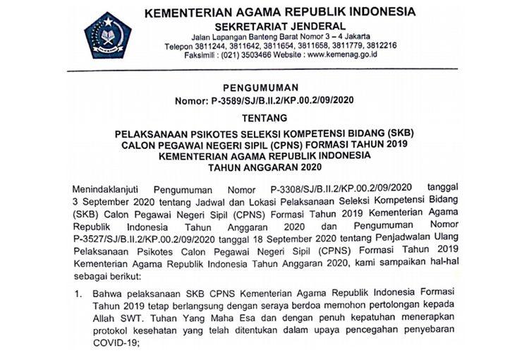 Kementerian Agama (Kemenag) telah merilis pengumuman soal pelaksanaan psikotes Seleksi Kompetensi Bidang (SKB) CPNS 2019.