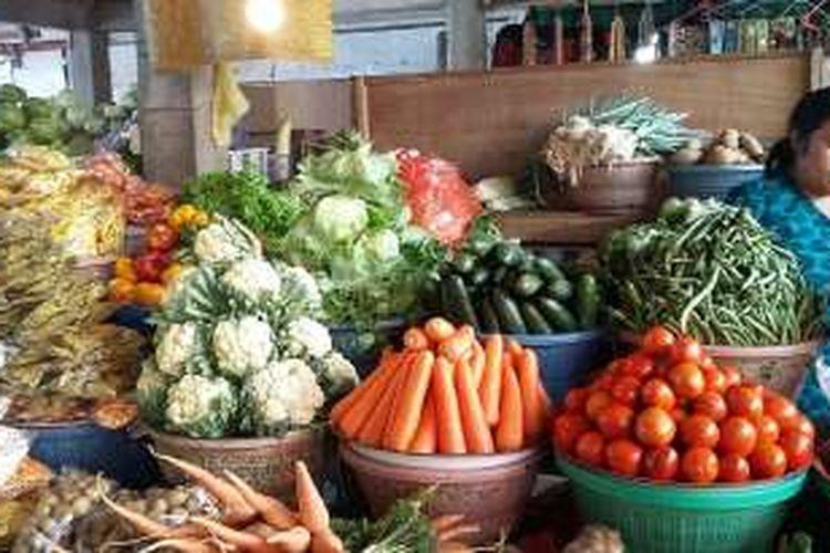 Pasar Bedugul, Kabupaten Tabanan, Bali. Bank Indonesia mewaspadai lonjakan harga pangan jelang bulan Puasa.