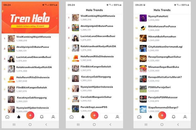 Halaman Helo Trends di aplikasi Helo