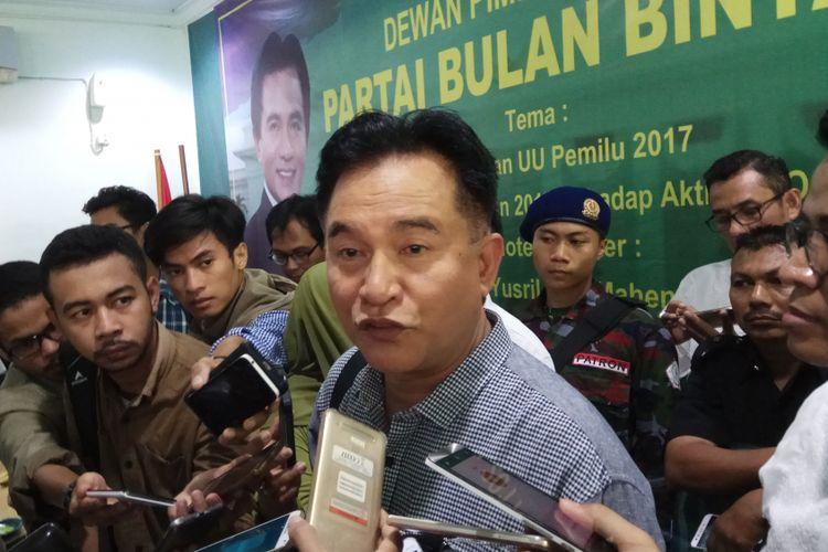 Ketua Umum Partai Bulan Bintang (PBB), Yusril Ihza Mahendra akan segera mengajukan uji materi Pasal 222 dari UU Nomor 7 tahun 2017 tentang Pemilihan Umum ke Mahkamah Konstitusi (MK). Jakarta, Senin (21/8/2017).