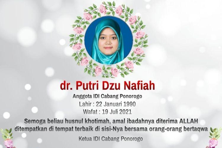 GUGUR?Seorang dokter muda asal Kabupaten Ponorogo, Jawa Timur bernama dr.Putri Dzu Nafiah meninggal dunia setelah berjuang melawan Covid-19 dalam kondisi hamil 7 bulan, Senin (19/7/2021).