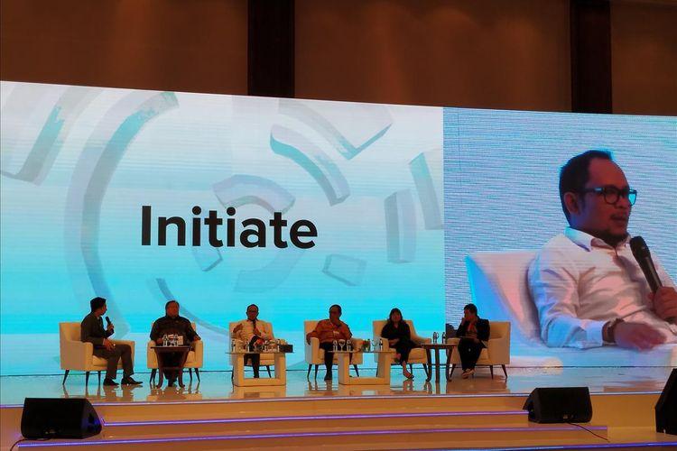 Menteri Ketenagakerjaan (Menaker) Hanif Dhakiri menjadi pembicara pada penyelenggaraan Indonesia Development Forum (IDF) 2019 di Jakarta Convention Center (JCC), Jakarta, Selasa (23/7/2019).