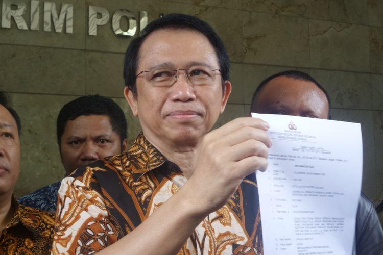 Mantan Ketua DPR RI Marzuki Alie melaporkan dua terdakwa kasus e-KTP dan pengusaha bernama Andi Narogong ke Bareskrim Polri, Jakarta, Jumay (10/3/2017).