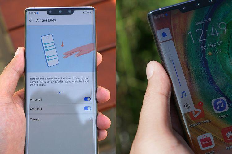 Fungsi tombol volume digantikan oleh on-screen slider yang bisa dimunculkan di kedua sisi layar (foto kanan). Mate 30 Pro juga memiliki fitur Air Gesture yang bisa menjalankan beberapa fungsi seperti screenshot dan scrolling dengan gerakan tangan di udara tanpa menyentuh layar.