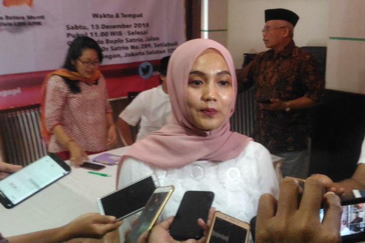 Juru bicara PSI Dara A.K Nasution usai mengikuti diskusi publik bertajuk Bisakah Poligami di Indonesia Dilarang? di Jakarta, Sabtu (15/12/2018).