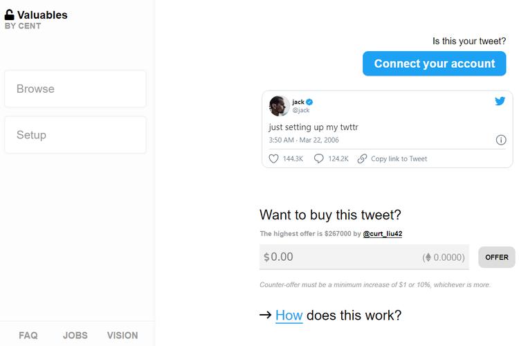 Tweet pertama Jack Dorsey di jual sebagai NFT di situs Valuables by Cent.