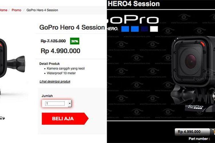 Diskon palsu di Hari Belanja online Nasional, harga GoPro Hero 4 Session di situs MatahariMall.com dengan diskon 30 persen, sama dengan harga di Focus Nusantara.