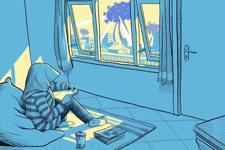 Ilustrasi belajar di rumah.
