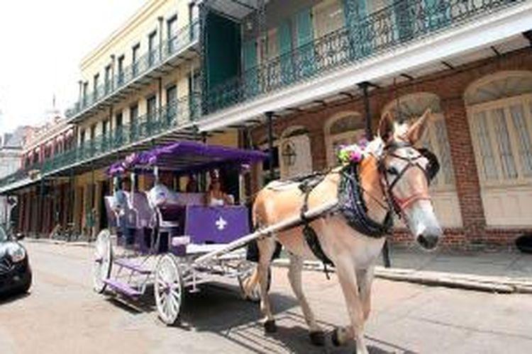 French Quarter atau Vieux Carre di New Orleans, Amerika Serikat.