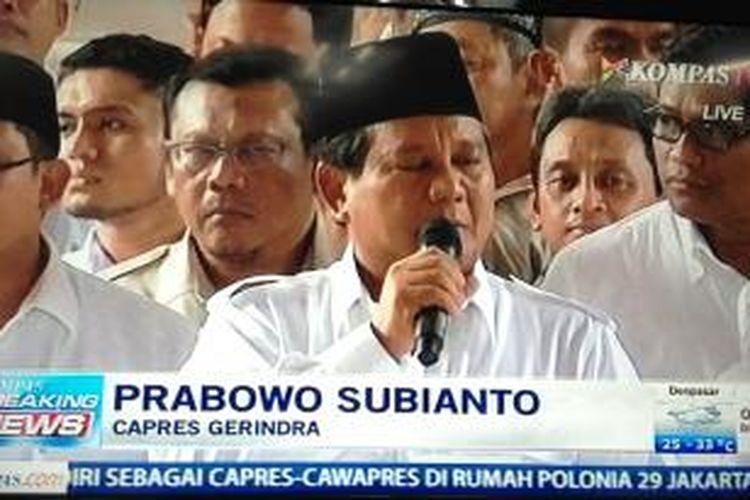 Prabowo Subianto saat menyampaikan pidato politik deklarasi pasangan Prabowo-Hatta di Rumah Polonia, Jakarta, Senin (19/5/2014).