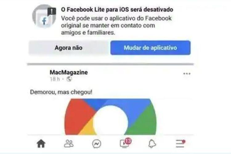Notifikasi yang muncul saat pengguna berusaha membuka apliaksi Facebook Lite
