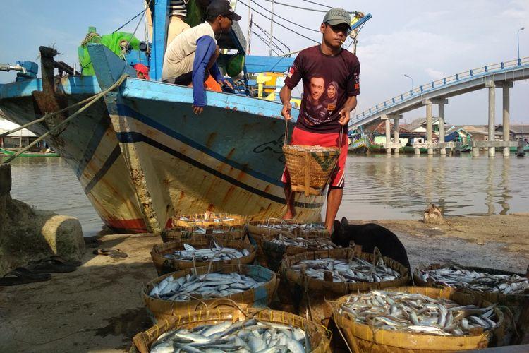 Nelayan di Desa Ciparage Jaya, Kecamatan Tempuran,  Karawang tengah menurunkan hasil tangkapan, Jumat (29/12/2017)