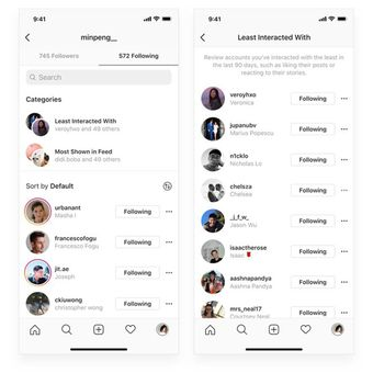 Fitur baru Instagram untuk menunjukkan siapa saja yang kontennya paling sering ditampilkan di linimasa dan siapa yang paling jarang berinteraksi dengan pengguna.