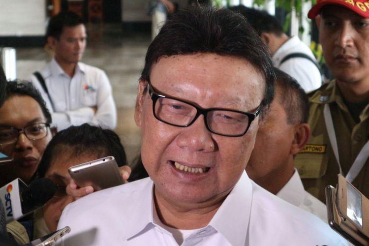 Menteri Dalam Negeri Tjahjo Kumolo ketika ditemui di Hotel Bidakara, Jakarta, Rabu (7/2/2018).