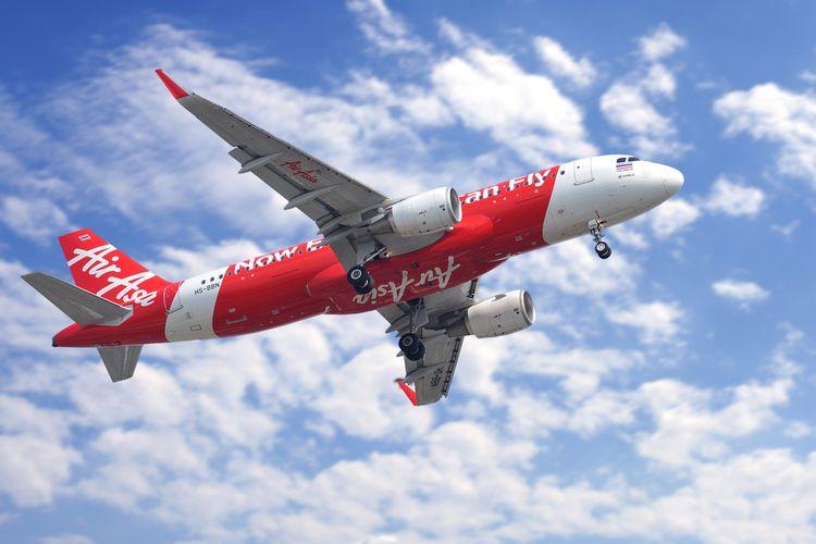 Ilustrasi pesawat milik maskapai penerbangan AirAsia.