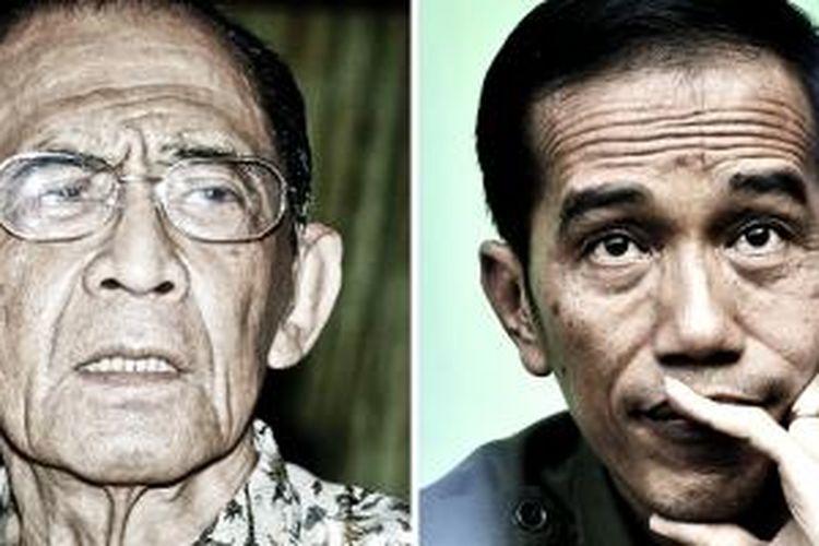 Gubernur DKI Jakarta periode 1966-1977 Ali Sadikin (kiri) dan Gubernur DKI Jakarta periode 2012-2017 Joko Widodo (kanan).