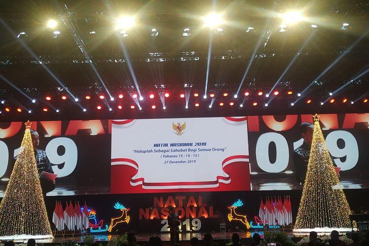 Presiden Joko Widodo menghadiri  Perayaan Natal Nasional 2019, yang digelar di Sentul International Convention Center (SICC), Bogor, Jawa Barat, Jumat (27/12/2019) malam.
