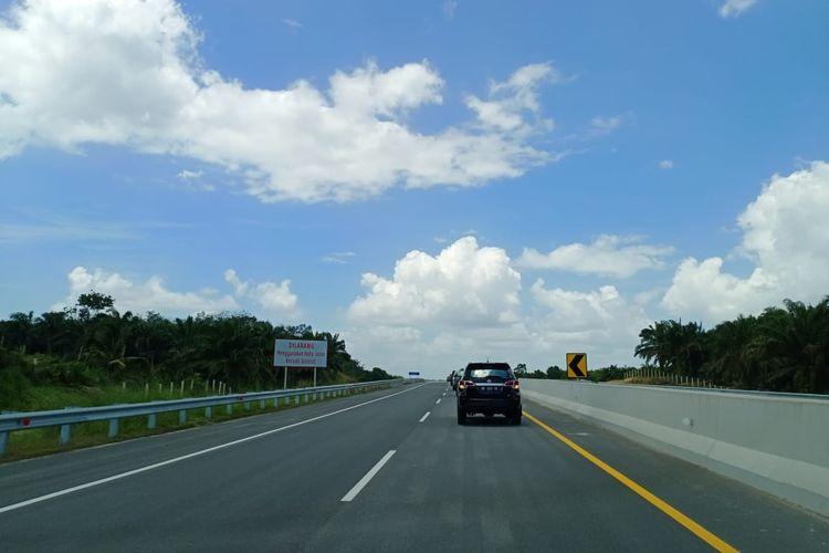 Kondisi Tol Pekanbaru-Dumai, Kamis (20/2/2020). Tol ini merupakan bagian dari Jalan Tol Trans Sumatera yang dirancang sepanjang 131 kilometer.