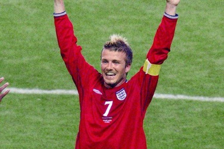 David Beckham saat merayakan kemenangan atas Argentina pada penyisihan Grup F Piala Dunia 2002.