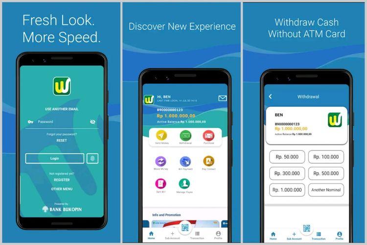 Screenshot tampilan aplikasi Bank Digital, Wokee