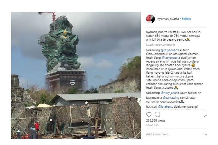 Progress pembangunan patung GWK di Bali.