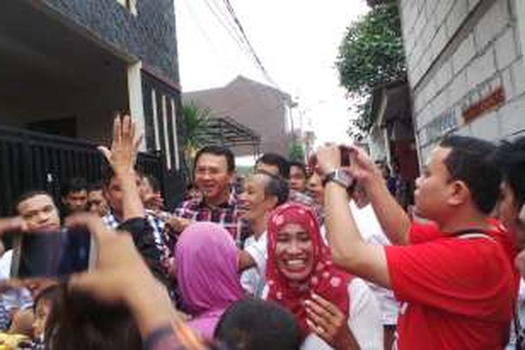 Calon gubernur DKI Jakarta Basuki Tjahaja Purnama atau Ahok blusukan di Rawa Belong, Jakarta Barat, Rabu (2/11/2016).